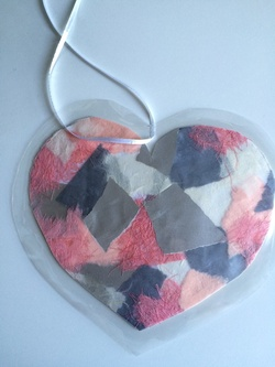 Coeur pastel en patchwork (collage)