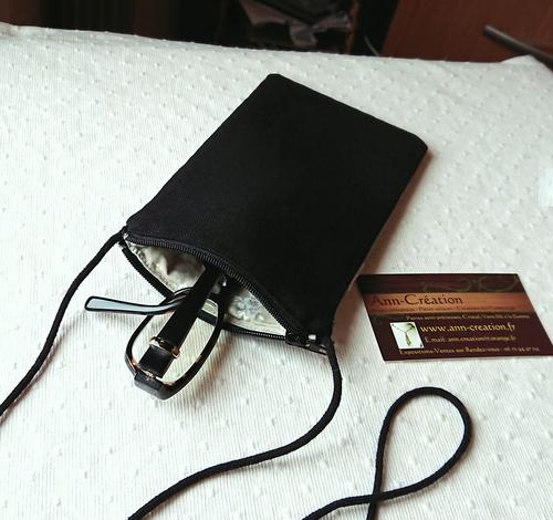 Etui molletonné téléphone mobile, lunettes, maquillage, 18 x 10 cm, avec cordon, tissu coton imprimé japon bleu / gris motifs végétaux / fermeture éclair