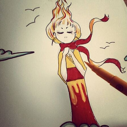 fille flamme