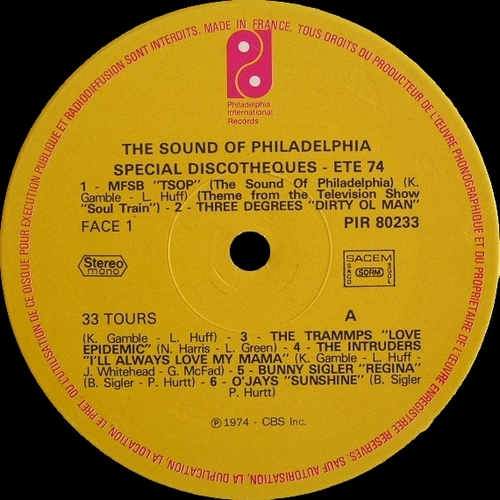 "Various Artists : Philadelphia Sound "" Special Discotheques Volume 1 "" Philadelphia International Records PIR 80233 [ FR ] en 1974"