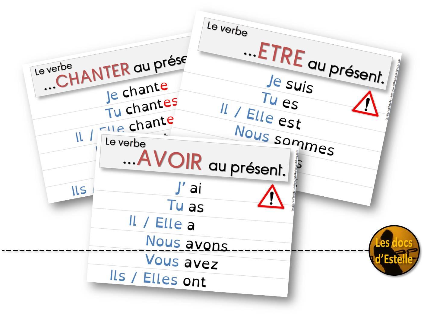 Le Present Des Verbes Chanter Etre Et Avoir Les Docs D Estelle