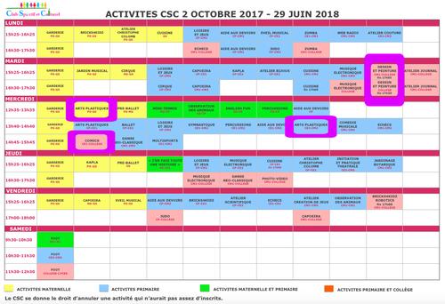 Planning des activités 2017-2018