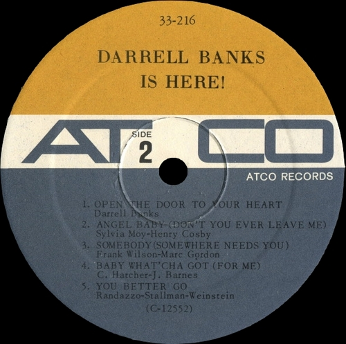 "Darrell Banks : Album : "" Darrell Banks Is Here ! "" Atco Records 33-216 [ US ]"