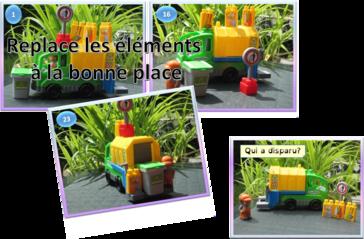 structuration spatiale-latéralité-travailler-exercices-3D-interactif-gestion de l'espace-jeu-éboueur-poubelles-déchets