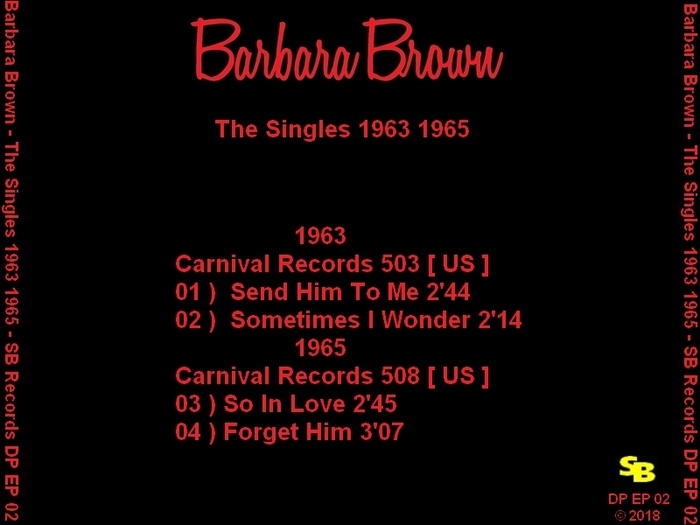 "Barbara Brown (2) "" The Singles 1963 1965 "" Soul Bag Records DP EP 02 [ FR ] 2018"