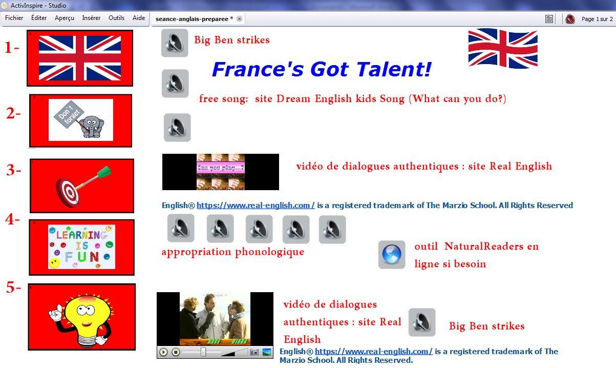 4- Enseigner l'anglais avec  ActivInspire :  exemple de mise en oeuvre