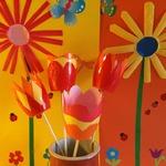 Fleurs en pots de petits-suisses