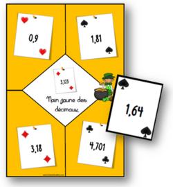 Jeu de nain jaune sur les nombres décimaux