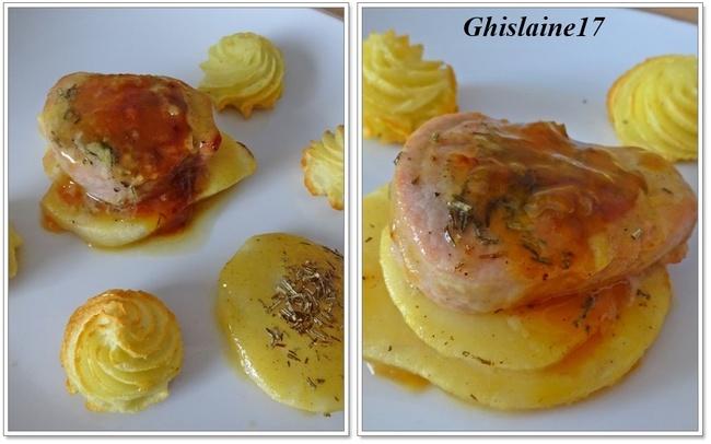 Tranche de filet mignon de porc sur lit de poire et nappage miel-moutarde