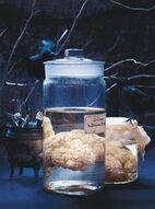 DIY - Cerveau/chou fleur dans le formol, centre de table pour Halloween (Source : http://www.ricardocuisine.com/recettes/3399-cerveau-dans-le-formol):