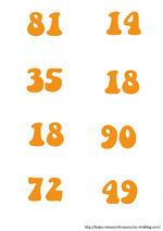 Cartes de multiplication pour jeu en classe entière.