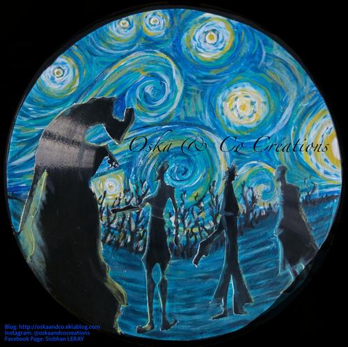 Les 3 frères Harry Potter, peints à l'acrylique sur disque vinyl