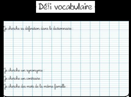 Un défi vocabulaire pour mes CE2