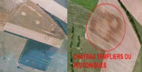 Le château de Langatte, deux vues aériennes, des dates différentes. (Géoportail et Google Earth)