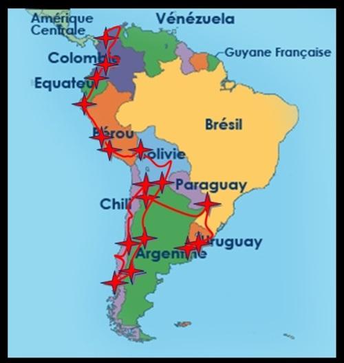 Itinéraire en Amérique du sud