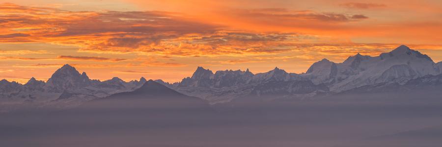 Flammes sur le Mont Blanc