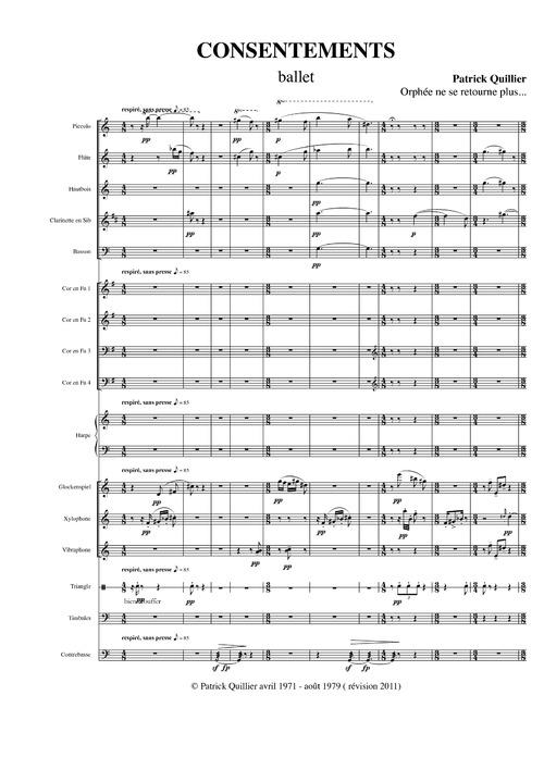 Patrick QUILLIER : Consentements, partition musicale et liins