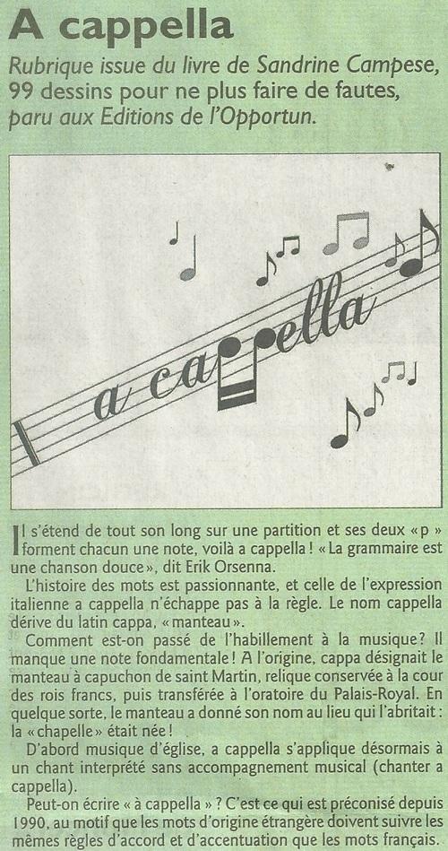 A cappella....