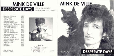New York New York - Chapitre final : Mink De Ville - Live at the Pavillion - NY City - 13 décembre 1982