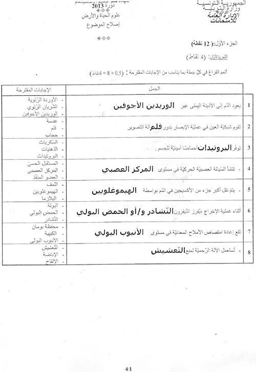 اصلاح اختبار العلوم الطّبيعيّة من امتحان شهادة ختم التعليم الأساسي العام دورة 2013
