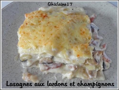 Lasagnes aux lardons et champignons