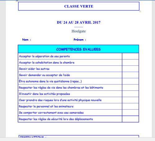 Evaluation des compétences attendues en classe verte