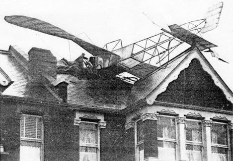 De Manio's Blériot monoplane on the roof of 75 Derwent Road, Palmer's Green