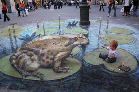 Illusions d'optique : peintures au sol.