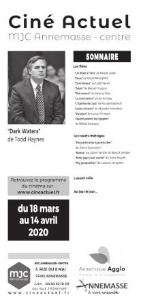Programme du 18 mars au 14 avril 2020