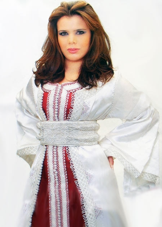 Takchita-marocain-2015 blanc-et-rouge idéal pour mariage marocain réaliser sur mesure en vendu en ligne TAK-S876