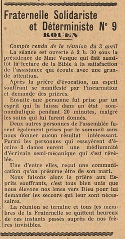 Fraternelle Solidariste et Déterministe N°9 - Rouen (Le Biéniste 1er mai 1922)