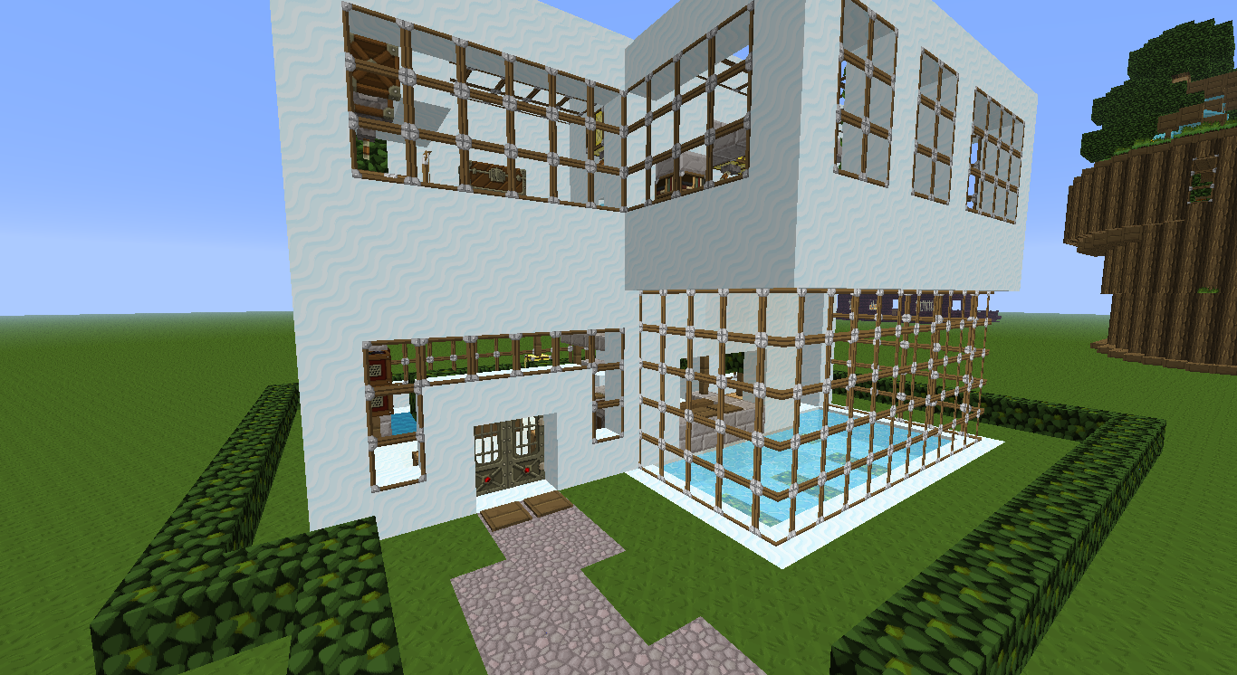 Maison moderne dansminecraft solutions pour la for Decoration maison minecraft