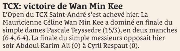 TCX: victoire de Wan Min Kee