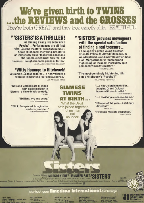 SISTERS BOX OFFICE 1973 BRIAN DE PALMA