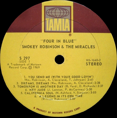 "Smokey Robinson & The Miracles : Album "" Four In Blue "" Tamla Records TS 297 [ US ]"