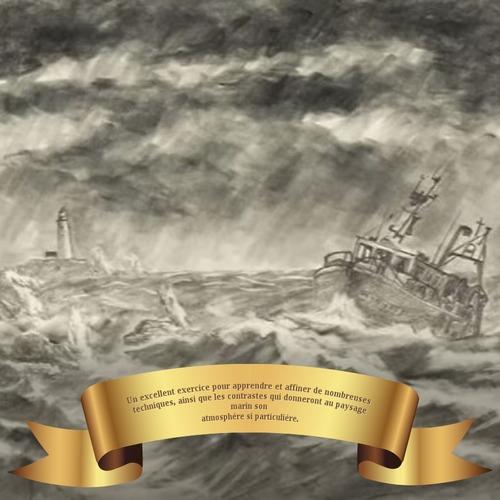 Dessin et peinture - vidéo 3404 : Comment réaliser le dessin d'un paysage marin sous la tempête ? - Dessin préparatoire.