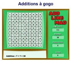 Jeu maths additions à gogo add like mad