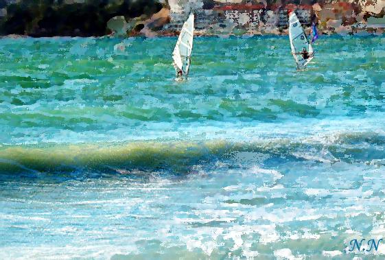 Voiles sur la mer, peinture numérique