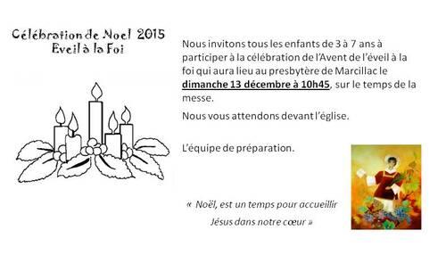 Invitation célébration de Noël le 13 decembre 2015 à Marcillac