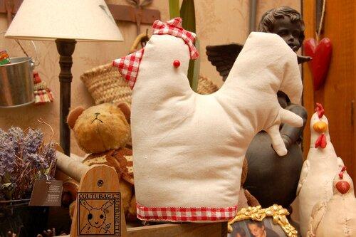 poule, tissu, fait main, couture
