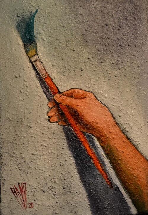 """""""La trace""""   Huile sur acrylique sur sable sur toile  54X38"""