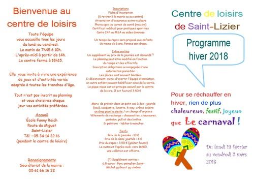 Centre de loisirs - Ouvert du 19 février au 2 mars 2018