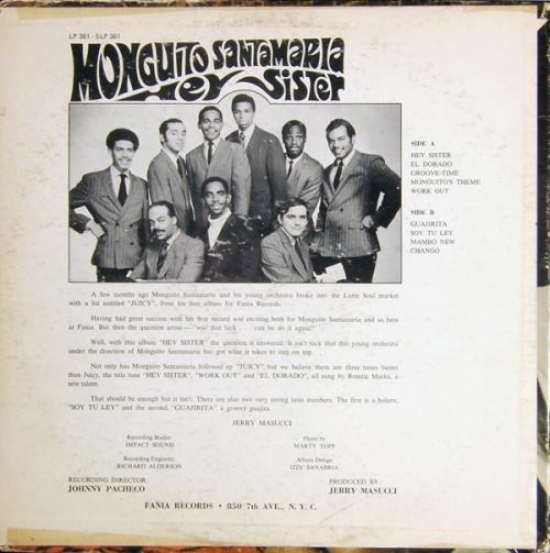 "Monguito Santamaria : Album "" Hey Sister "" Fania Records SLP 361 [ US ]"