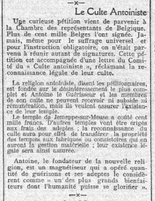 Le Culte Antoiniste (L'Aurore, 5 déc 1910)
