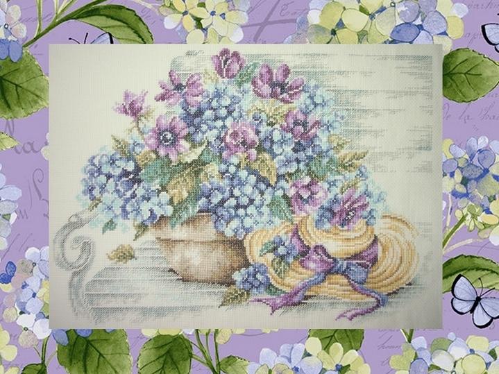 Lanarte, Des hortensias sur un banc (Karine) - fini