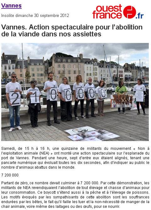 Ouest France - Abolition de la viande