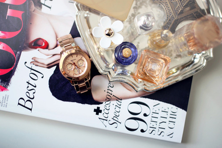 michael kors, beauty, bottles, clock
