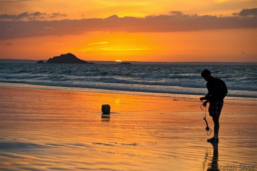 char à cerf volant- coucher de soleil