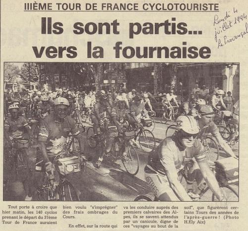 Dimanche 3 juillet 1994 : c'est parti ! Aix-en-Provence - La Londe-les-Maures