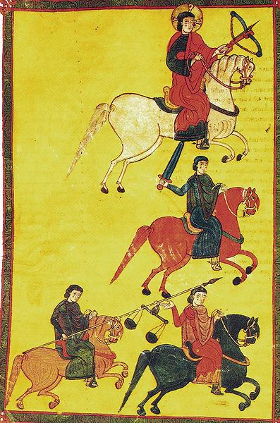 Les Quatre Cavaliers (1086, enluminure sur parchemin)